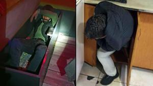 Kırmızı listedeki Konyada akılalmaz görüntü Polis baskın yapınca kanepe ve dolaba saklandılar