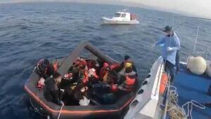 Ayvacık açıklarında Yunan sahil güvenliğinin Türk kara sularına geri ittiği 27 sığınmacı kurtarıldı