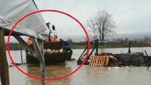 Bursada çiftliği su bastı, kuzular iş makinesiyle kurtarıldı