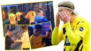Manchester City - Borussia Dortmund maçında yan hakem Octavian Sovreden görülmemiş hareket Tünelde Haalandın yanına gitti ve...