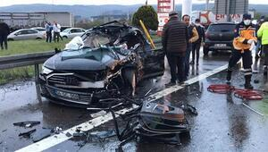 TEMde korkunç kaza 12 araç birbirine girdi
