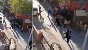 Antalyada komşuların taşlı sopalı kavgası