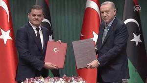 Cumhurbaşkanı Recep Tayyip Erdoğan Libya Millî Birlik Hükümeti Başbakanı Abdülhamid Dibeybe ile basın toplantısında konuştu