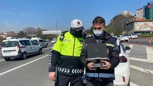 Beykoz TEMde drone destekli trafik denetimi