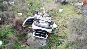 Sarıyer Garipçede otomobil uçuruma yuvarlandı