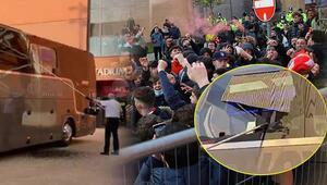 Liverpool maçı öncesi Real Madride büyük şok Takım otobüsü taşlandı