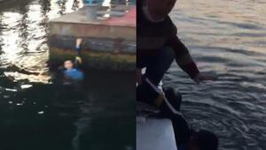 Haliçte panik anları... Yolcu teknesi kaptanı kurtardı