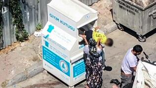 İstanbul'da yardım kutusundan kıyafetleri böyle aldılar