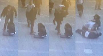 Karısını sokak ortasında dövdü... Çok zor kurtuldu