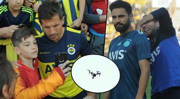 Fenerbahçe maçında dikkat çeken görüntü Futbolcuların tepesinde drone ile...