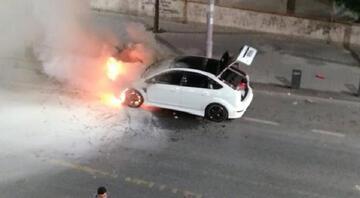 Asker uğurlaması sırasında konvoydaki araç alev alev yandı