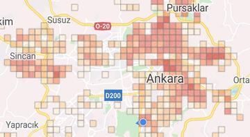 Ankaranın ilçe ilçe koronavirüs yoğunluk haritası yayınlandı