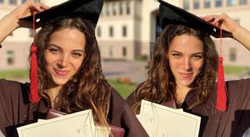 Berk Oktayın eşi Merve Oktay mezun oldu