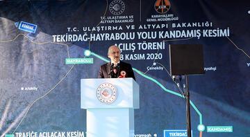 Ulaştırma ve Altyapı Bakanı Karaismailoğlu, Tekirdağ-Hayrabolu Yolu Kandamış Kesimi Açılış Törenine katıldı