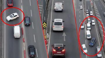 İstanbul trafiğinde akılalmaz görüntüler... Kazaya davetiye çıkarıyorlar