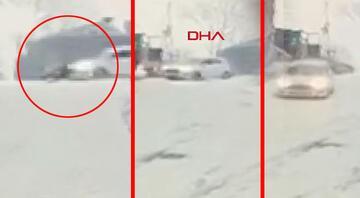 İstanbulda feci kaza Buzlanan yolda dengesini çarpan kişiye araç çarptı