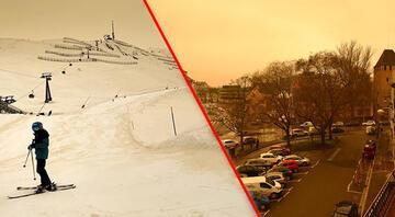 Avrupada şaşırtan görüntü Turuncu kar yağdı