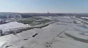 Edirnede hava sıcaklığı eksi 11 dereceye düşünce tarlalar buz tuttu