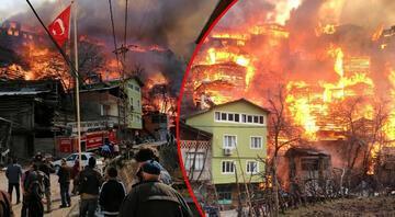 Artvinin Yusufeli ilçesinde yangın dehşeti 60a yakın ev yandı