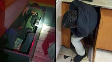 Konyada akılalmaz görüntü Polis baskın yapınca kanepe ve dolaba saklandılar