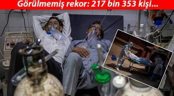 Son dakika haberler... Bir yatakta iki hasta Hindistanda günlük vaka sayısı 217 bini aştı