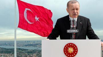 Çamlıca Tepesine dev Türk bayrağı Cumhurbaşkanı Erdoğandan önemli açıklamalar
