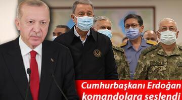 Cumhurbaşkanı Erdoğan komandolara seslendi: Amacımız tehditleri bertaraf etmektir