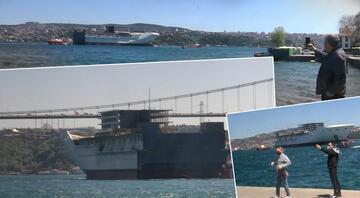 İstanbul Boğazında dikkat çeken görüntü... 7 römorkör de eşlik etti