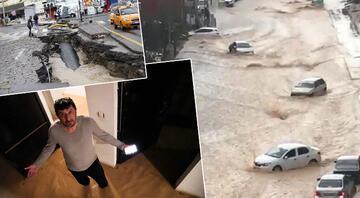 Ankarada yoğun sağanak sonrası sel Araçlar sürüklendi, caddeler su altında kaldı
