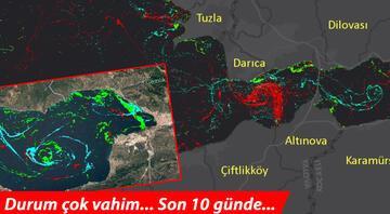 Bu harita Türkiyede ilk Tablo çok vahim... İşte Müsilajın (deniz salyası) yoğunluğu...