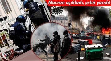 Fransada inanılmaz görüntüler... Macron kararları kaos yarattı, sokaklar yangın yerine döndü
