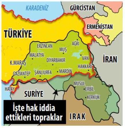 Papa pulunda harita skandalı Barzaniler'den 'Büyük Kürdistan' propagandası