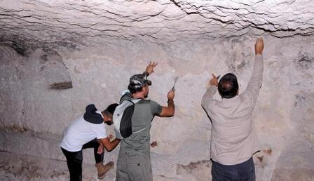 Kayseri'de tüf mağara tavanında fosil bulundu