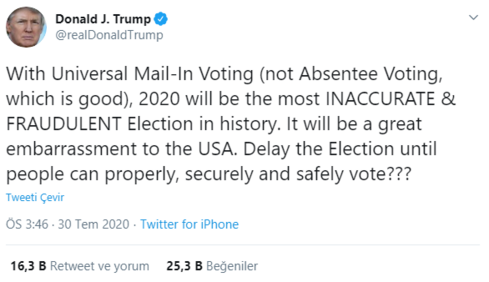 Son dakika ABD başkanı Trump, seçimlerin ertelenmesini istedi
