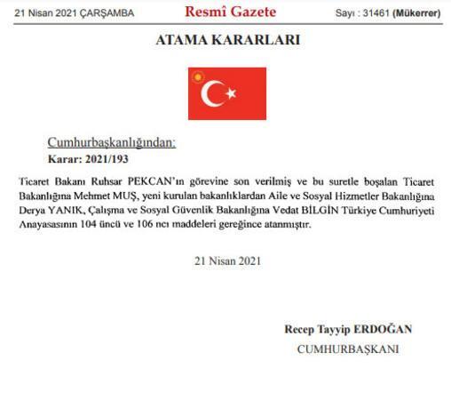 Son dakika haberi: Resmi Gazetede yayımlandı Kabine değişikliği açıklandı..