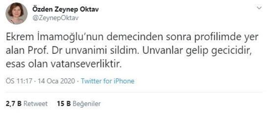 Prof. Özden Zeynep Oktav, İmamoğluna tepki gösterip unvanını sildi