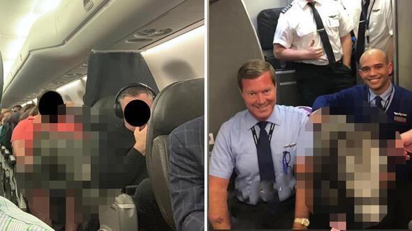 Uçakta büyük sürpriz Yolcular ve pilot şaşkına döndü