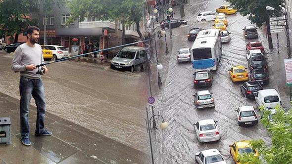 5 dakikalık yağış Ankarayı Venedik'e döndürdü