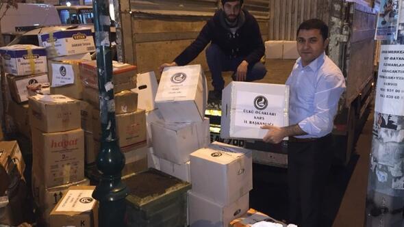 Kars'tan Bayırbucak Türkmenlerine İki Kamyon Yardım