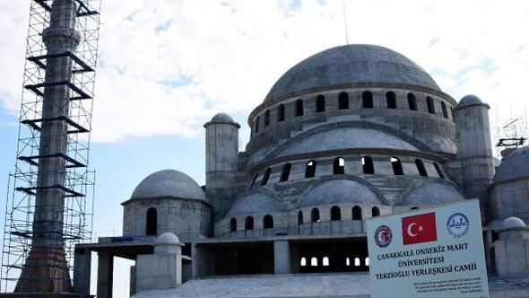 Çanakkalenin en büyük camisi ÇOMÜde yükseliyor