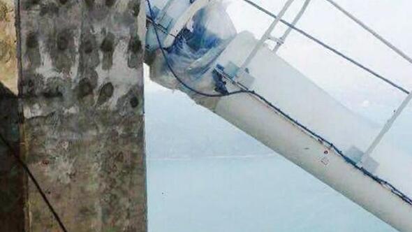 Yavuz Sultan Selim Köprüsünün ışıklarını dağcılar takıyor