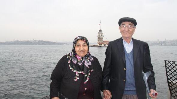Arnavutköylü yaşlı çiftlere Kız Kulesi sürprizi