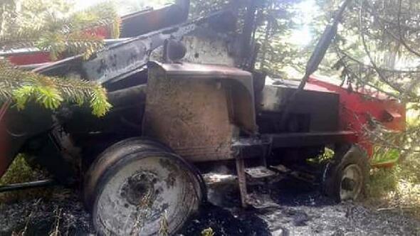 Çamlıdere Benli Yaylasında kundaklanan traktör yakıldı