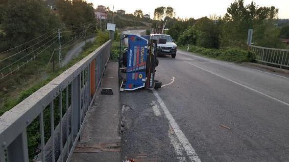 Zonguldakta Pat pat devrildi: 1 yaralı