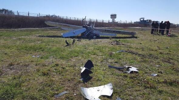 Çorluda eğitim uçağı araziye sert iniş yaptı: 1 yaralı (2)- Yeniden