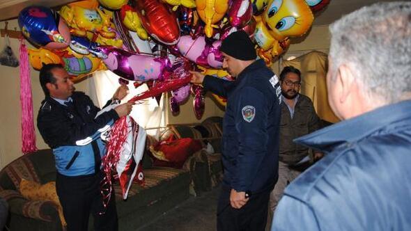 Evde kaçak üretilen zehirli gaz dolu binlerce uçan balon ele geçti