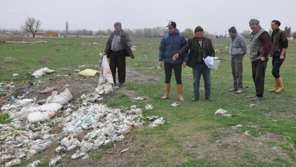 Koyunların mevsimlik tarım işçilerinin attığı çöplerden telef olduğu iddiası