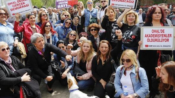 CHPlilerden OHALe karşı oturma eylemi