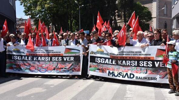 Balıkesir'de İsrail ve ABD protestosu