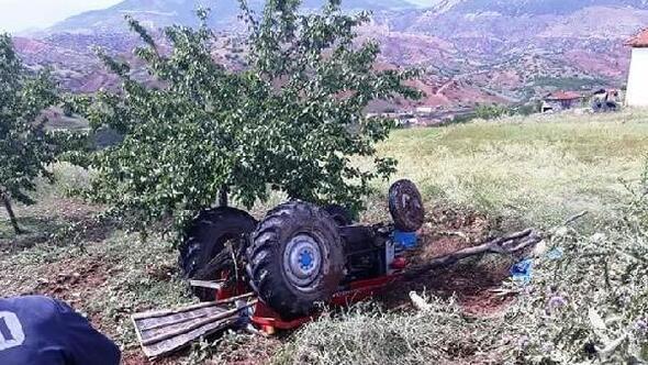 Traktör, kayısı bahçesine devrildi: 1 ölü